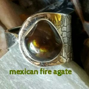 Mexican Fire Agate Ring Sterling Silver